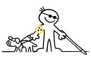 figur mit blindenhund
